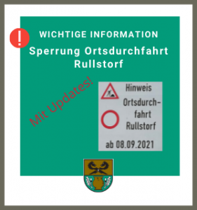 Gemeinde Rullstorf: Sperrung Ortsdurchfahrt_uppdated